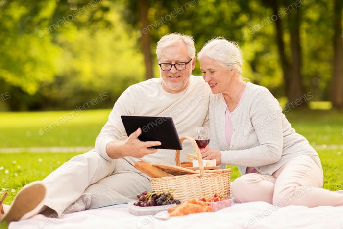 glücklich ältere Paar mit Picknick im Sommerpark
