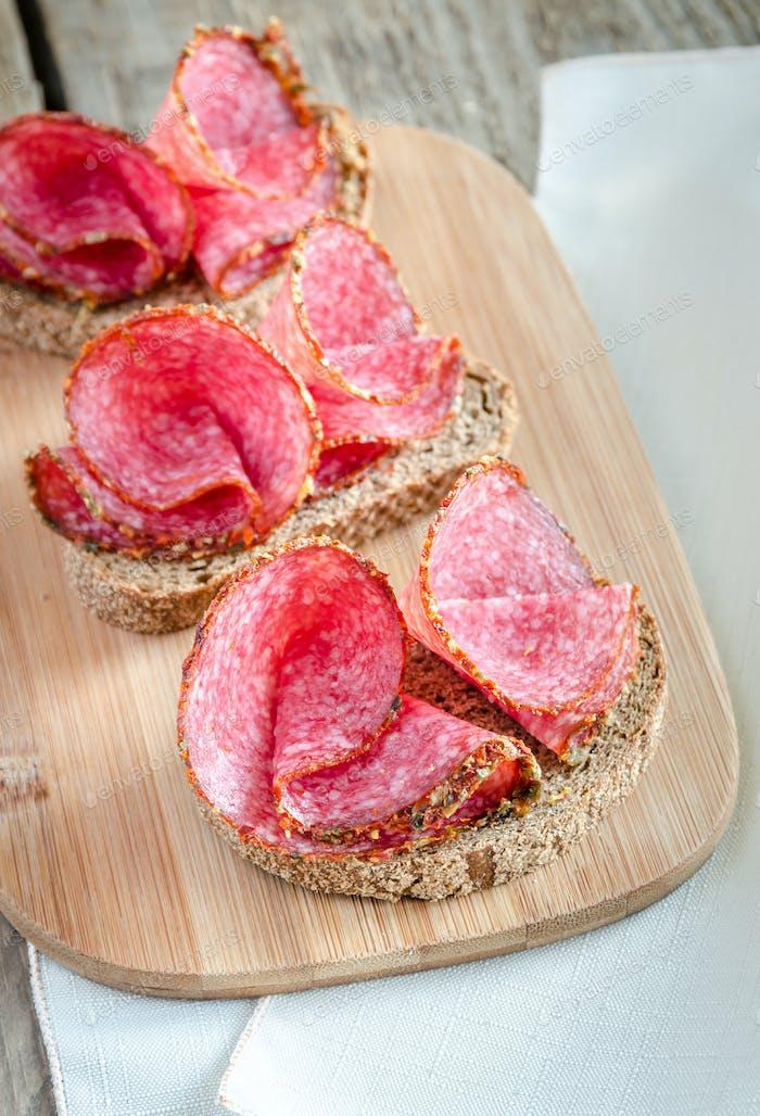 Sandwiches with italian salami