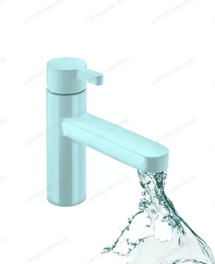 The kitchen water crane is isolated on a white background