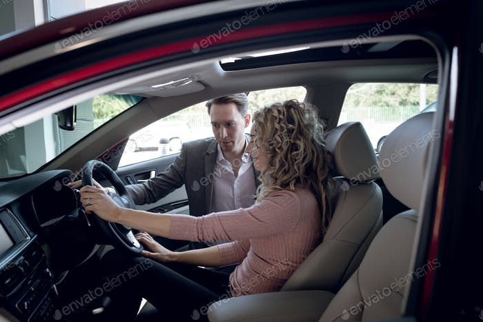 Verkäuferin Assistenzfrau sitzt im Auto
