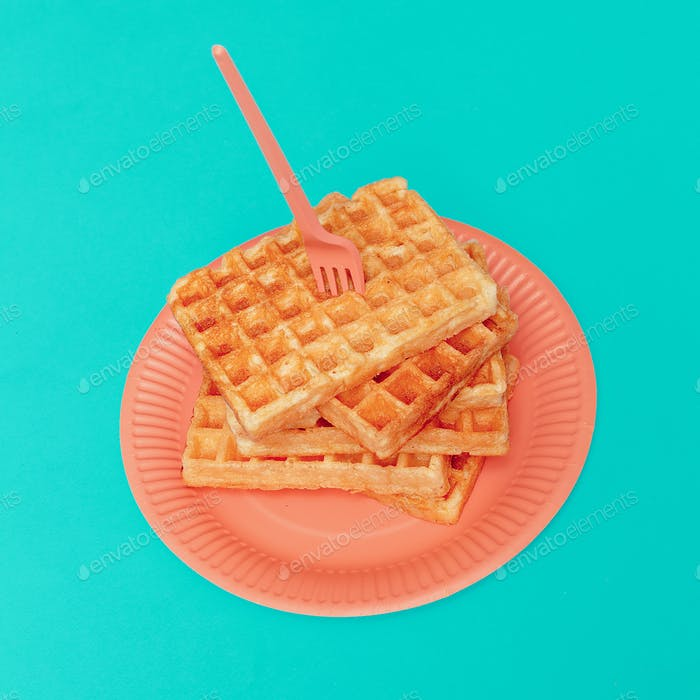 Sweet waffles. Minimal design art gallery
