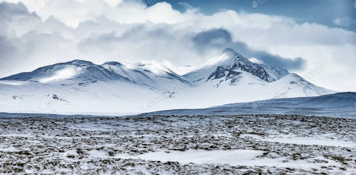 Winter mountains landscape, Iceland