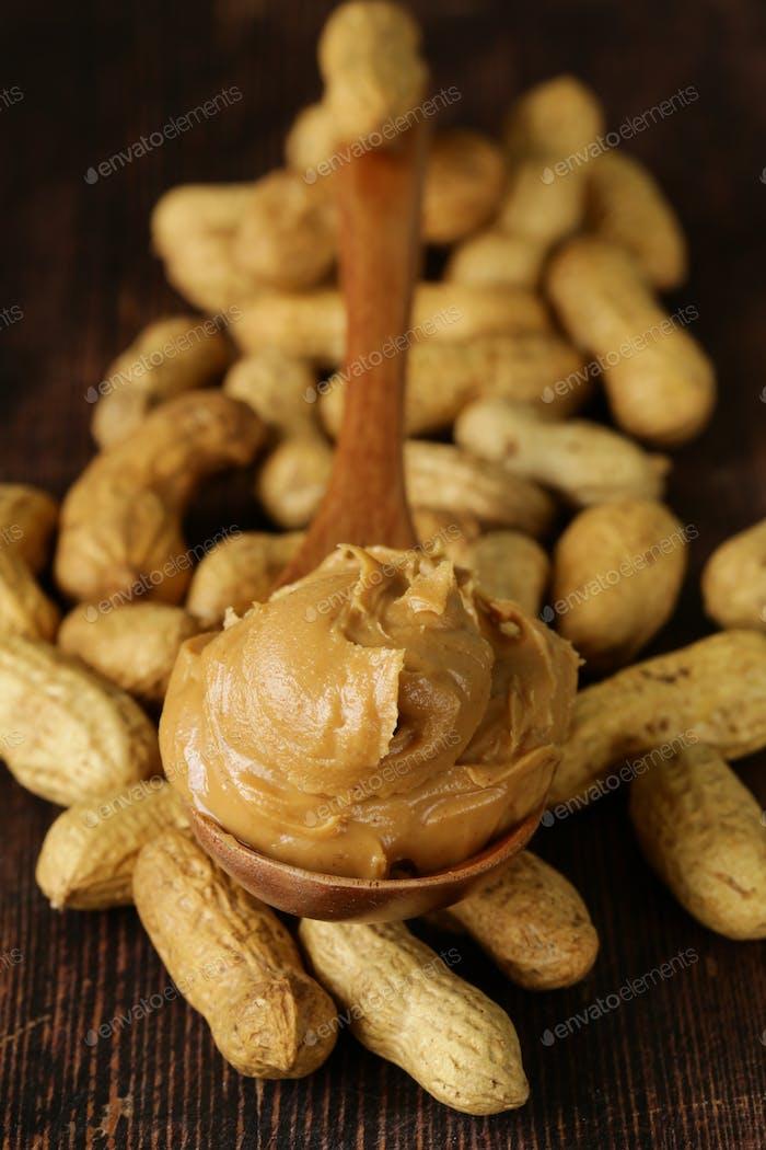 Peanut Butter In A Wooden Spoon