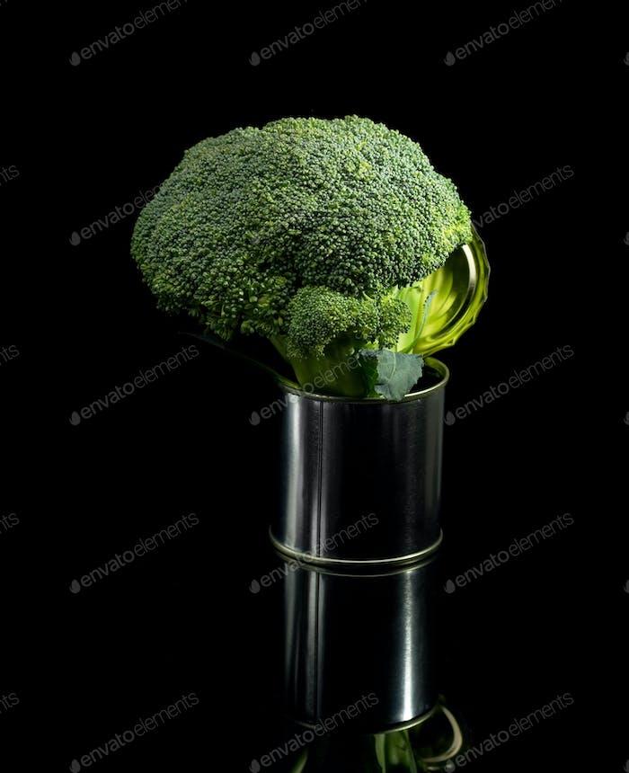 broccoli on a tin can