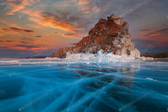 Shaman Rock or Cape Burhan on Olkhon in the winter. Lake Baikal, Russia.