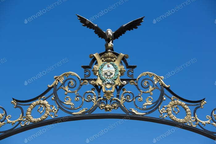Eagle ironwork on classic entrance gate in Mendoza, Argentina