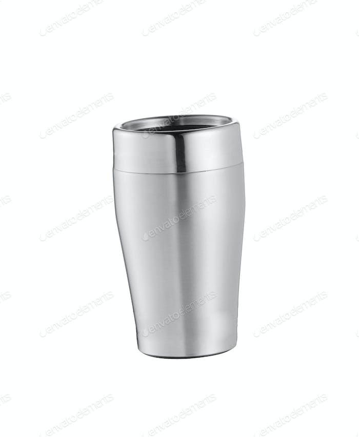 Big steel cup with lid and handle isolated on white