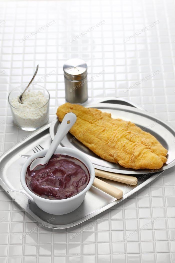 acai and fried catfish, brazilian food from amazon basin