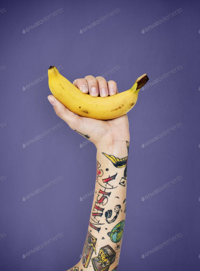 Tattoo Banana Fruit Ripe Tropical Vitamin Organic Concept