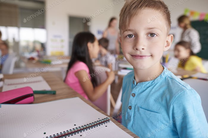 Close up of boy in the classroom