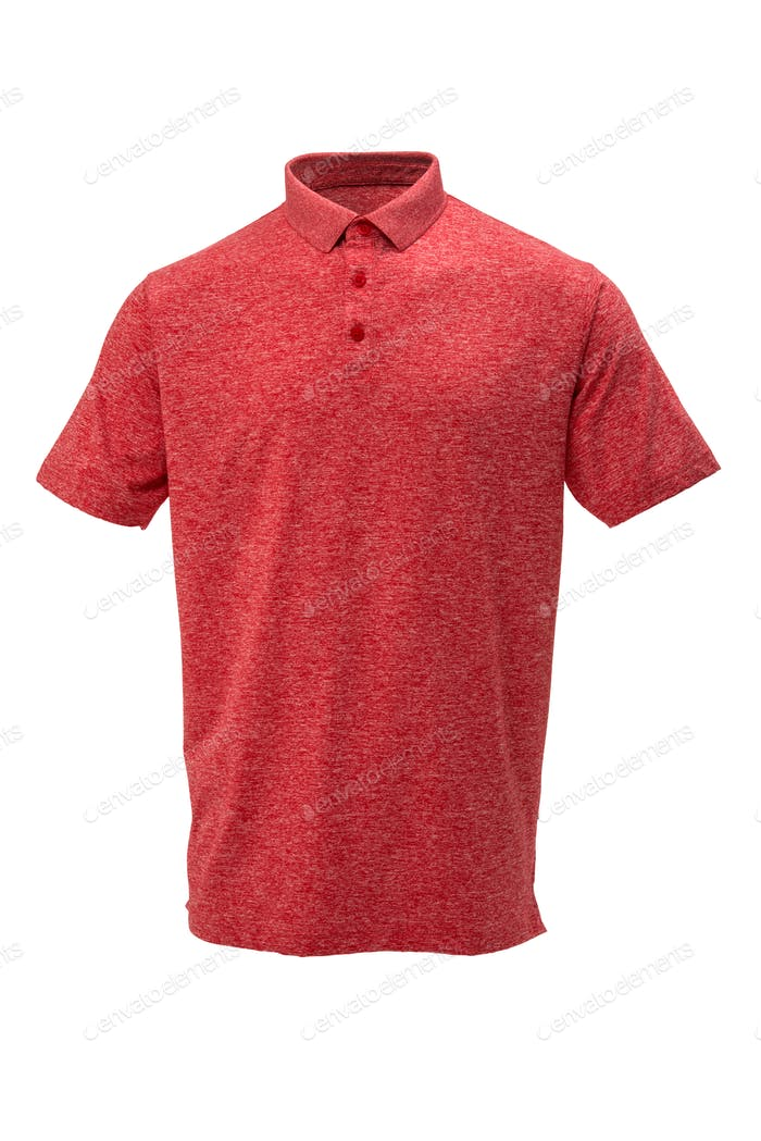 Golf red and white tee shirt on white background