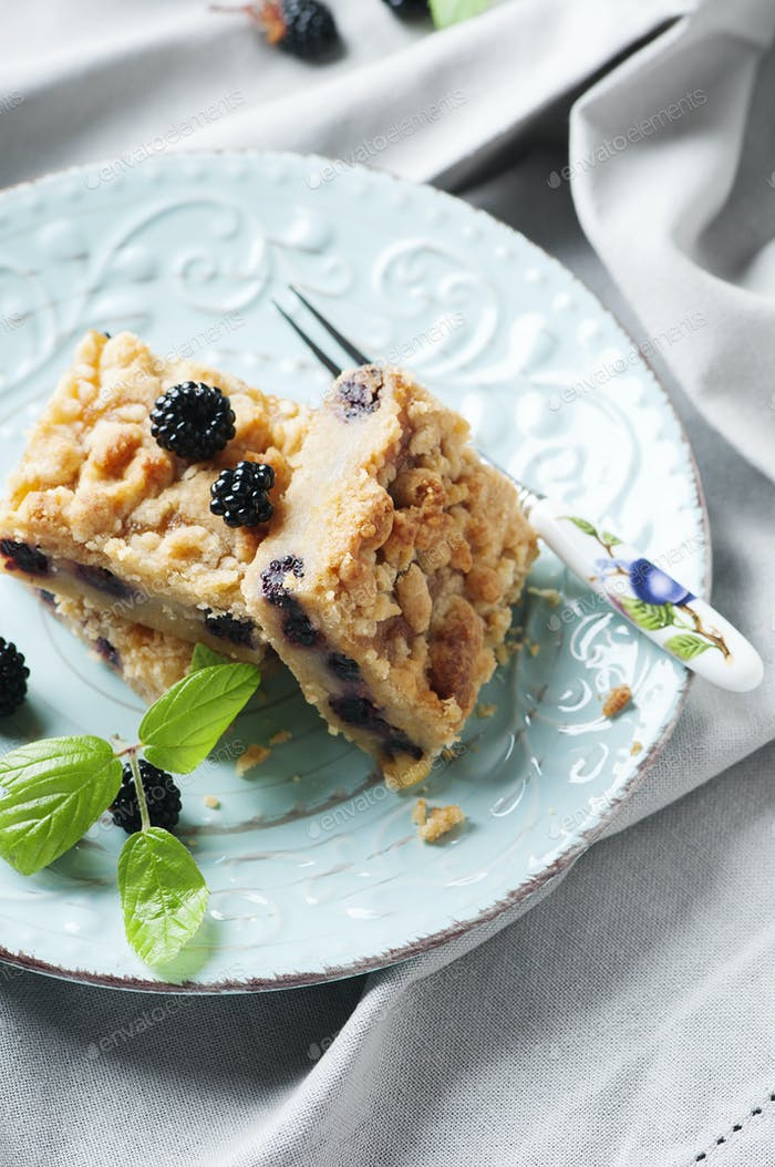 Homemade cake with blackberry