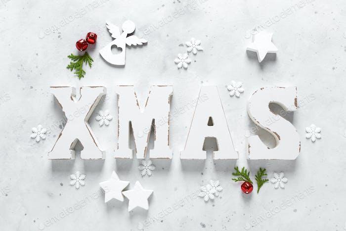 Weihnachten, Neujahr oder Noel Feiertag Festliche Winter-Grußkarte mit Dekorationen, Weihnachts-Ornamente