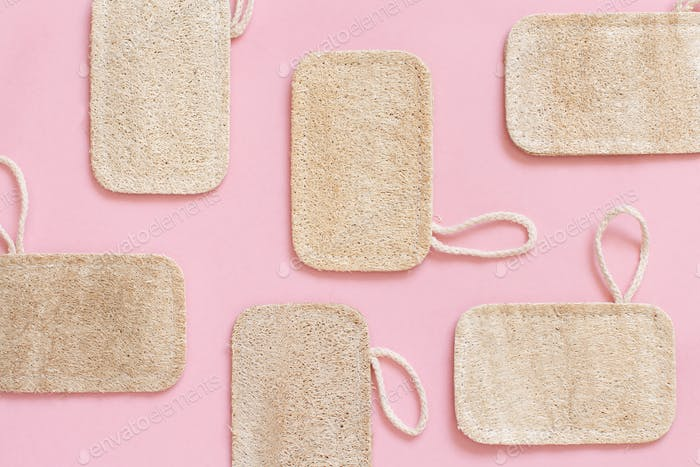 Eco friendly  dish washing sponges on pink background