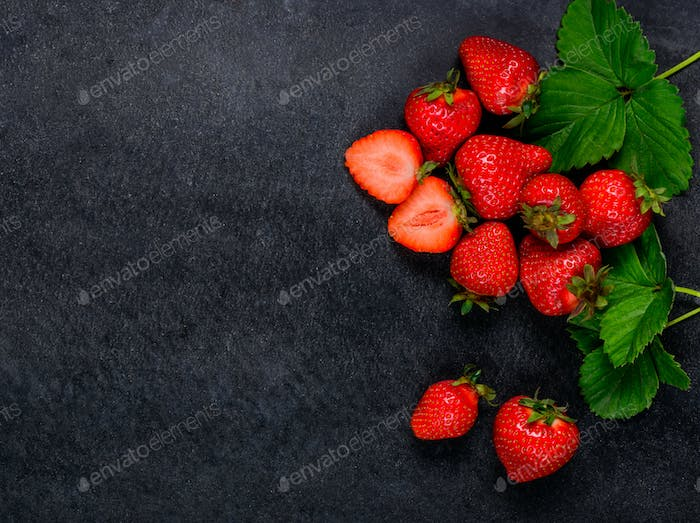 Fresh Red Strawberries with Copy Space