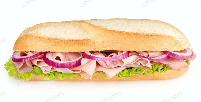 sandwich wtih mortadella lettuce and red onion