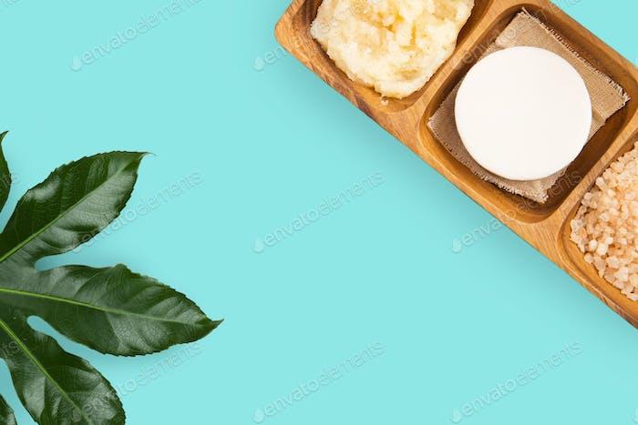soap, himalayan pink salt and body scrub