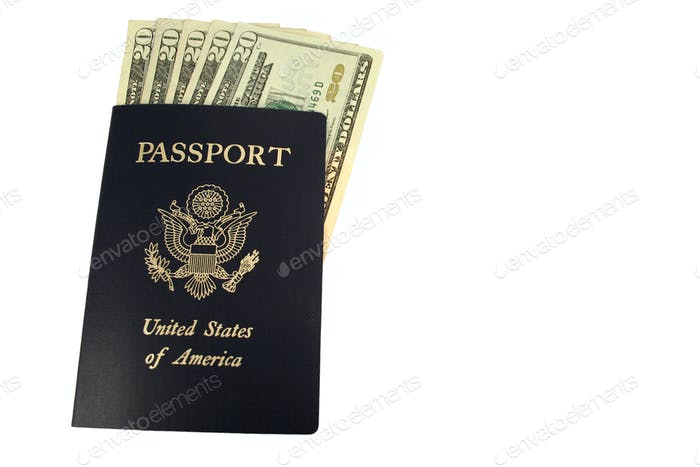 US passport and Twenty Dollar bills