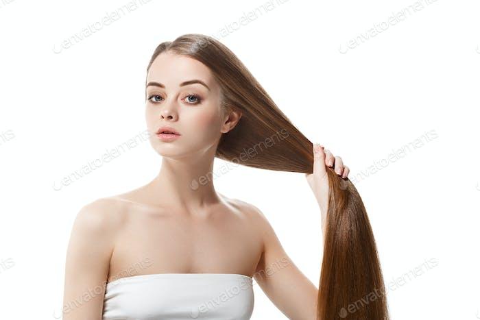 Beautiful long smooth hair woman healthy long hairstyle