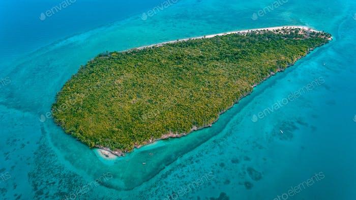aerial view of the bawe island, Zanzibar