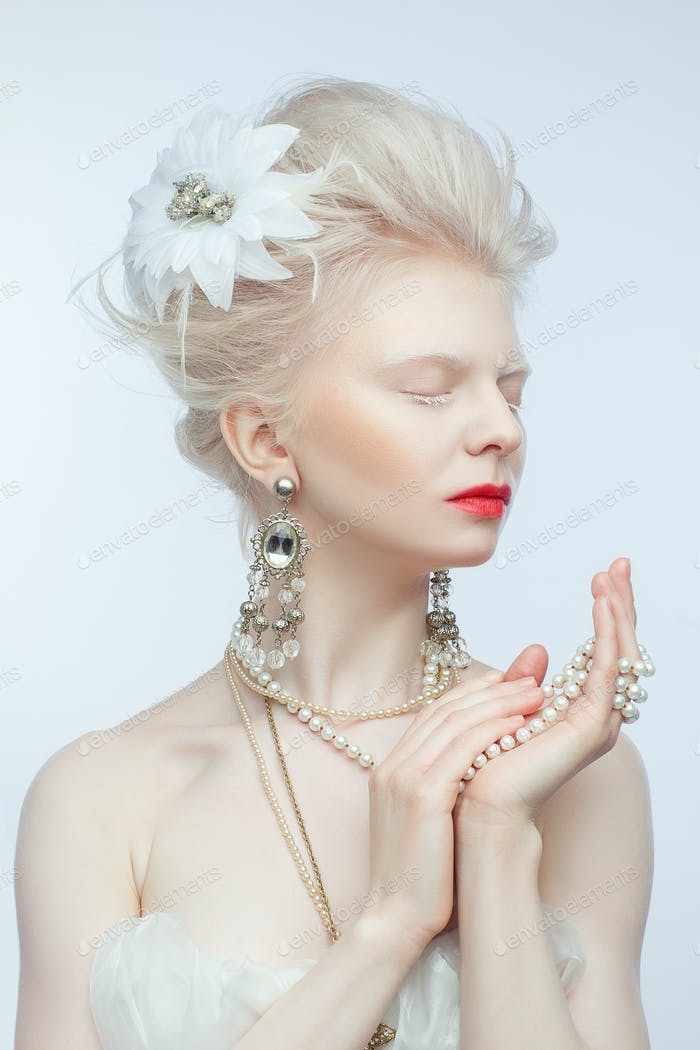 beautiful albino girl with red lips