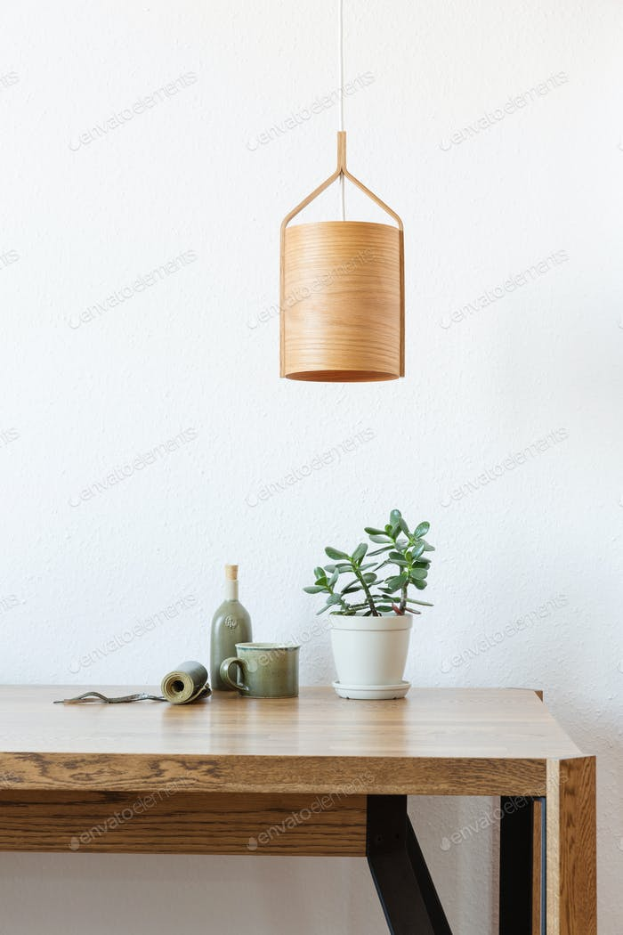 Wooden Lamp Over the Table