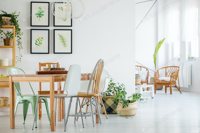 Table and chairs in modern interior