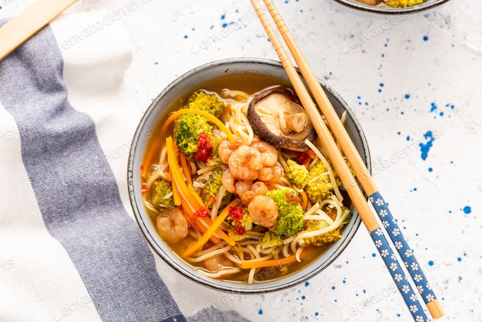 Bowl with Noodles, Prawns and Vegetables. Healthy Diet Soup in Bowl