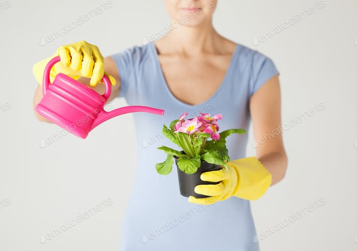 woman holding pot with flower