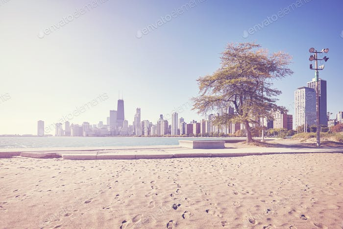 Vintage stylized Chicago city skyline, USA.