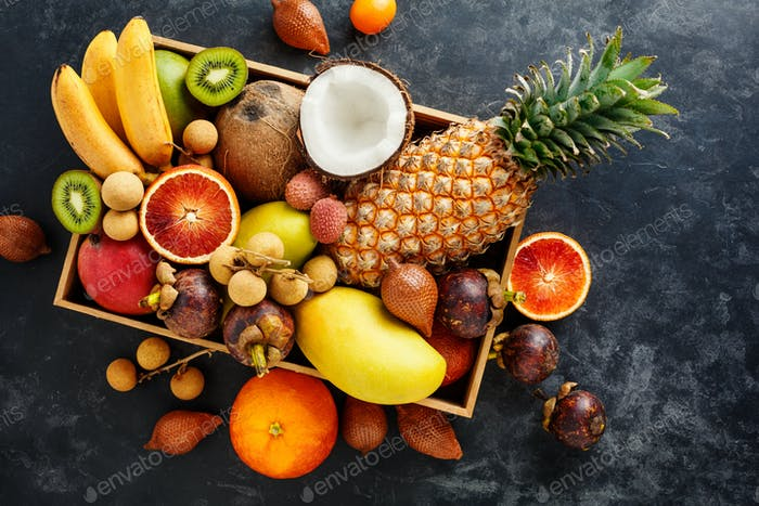 Fresh exotic fruit in a box