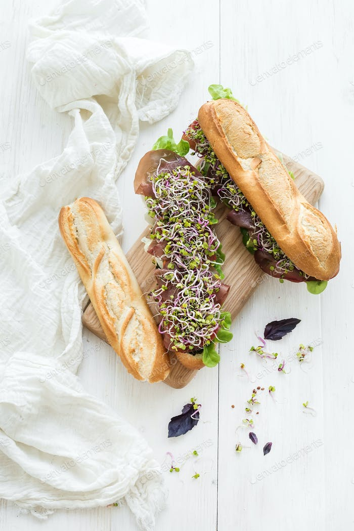 Sandwiches with beef, fresh vegetables and herbs over white wood backdrop, copy space