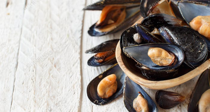 Fresh boiled mussels
