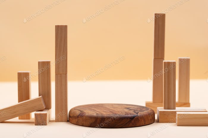 Podium with wooden decoration for presentation