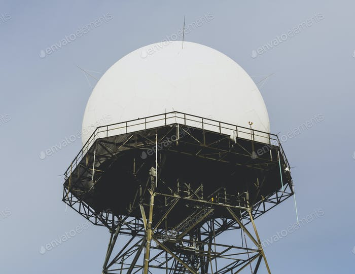 Domed radar antenna and tower