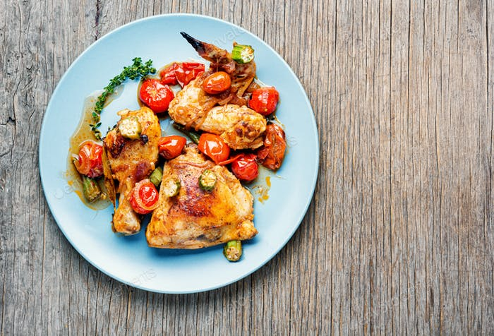 Baked chicken with vegetables