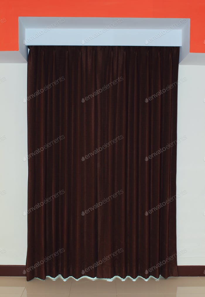 Brown curtains in a room