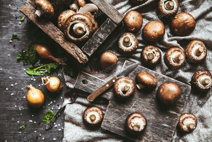 Royal mushrooms on a kitchen towel. Cooking of dishes