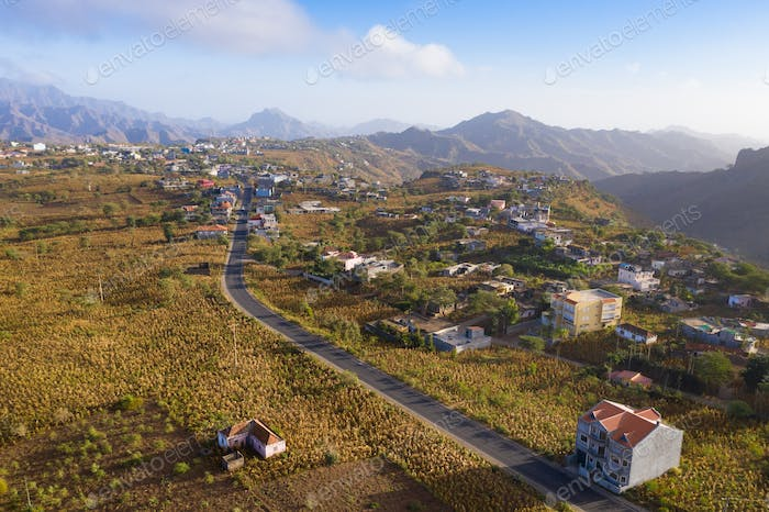 Aerial view of Rebeirao Manuel in Santiago island in Cape Verde