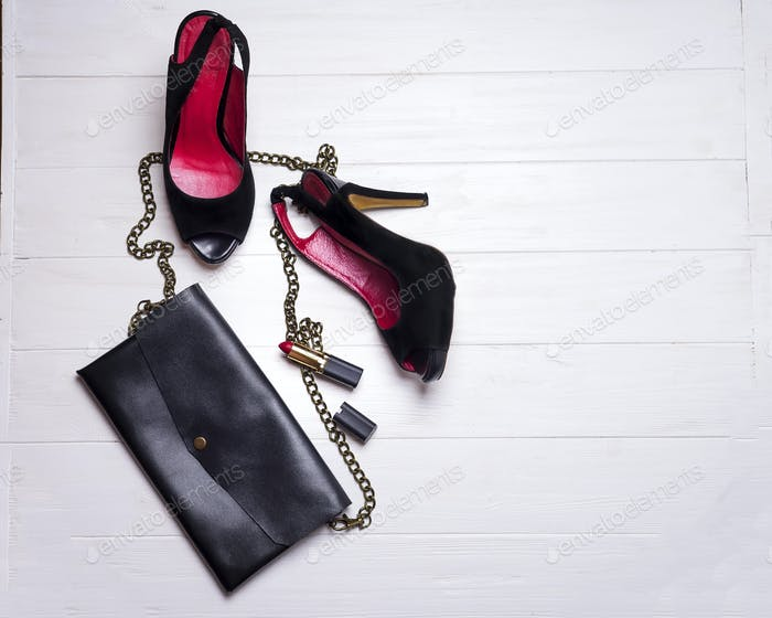 beautiful set of women's fashion accessories and cosmetics