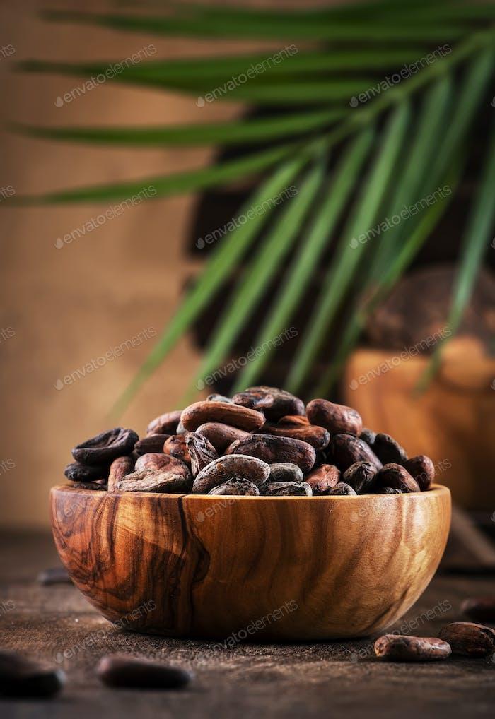 ungeschälte Kakaobohnen