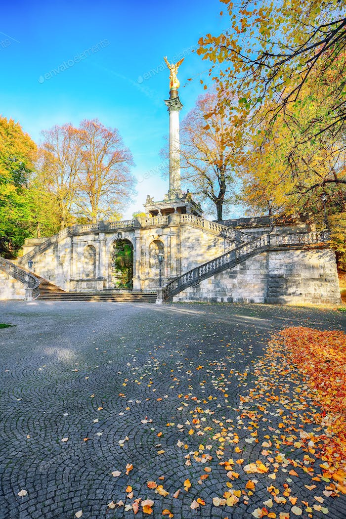 Charming autumn view of Angel of Peace (Friedensengel) monument
