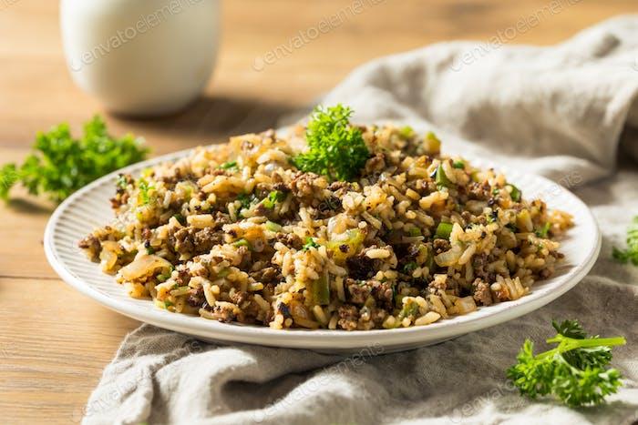 Gekochter Cajun Dirty Reis