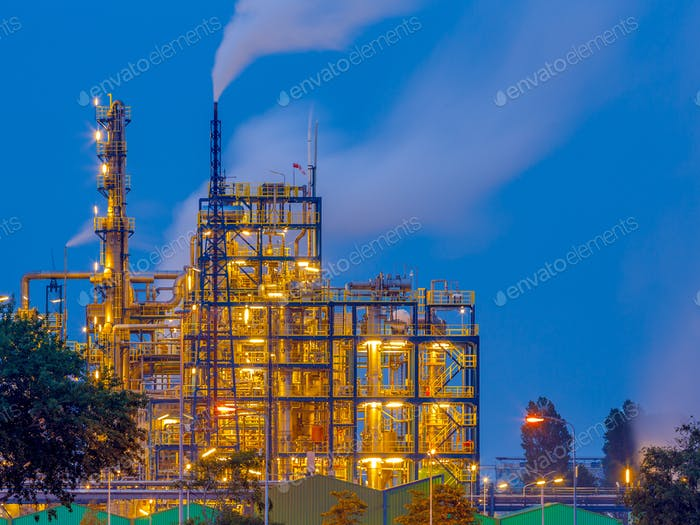 Chemical industry at sunset