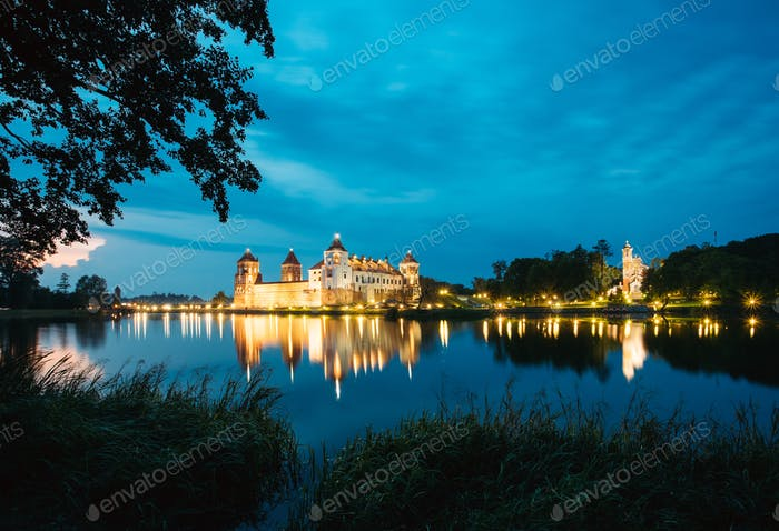 Belarus. Mir Castle Complex In Bright Evening Illumination, Glow