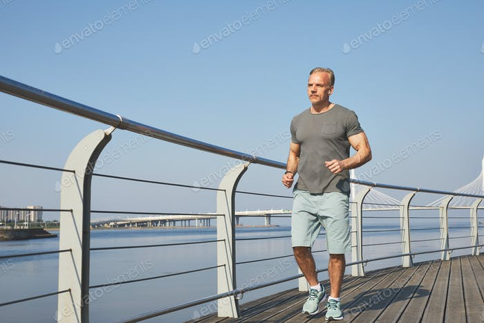 Jogging on embankment