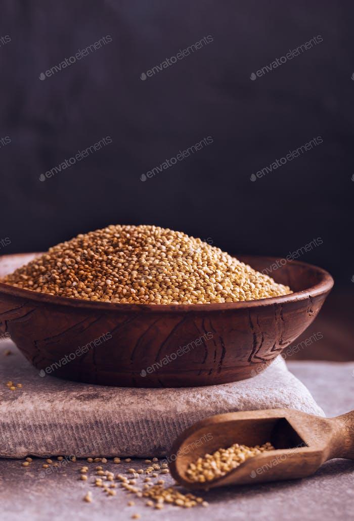 Bio ungekochte Quinoa in Schüssel