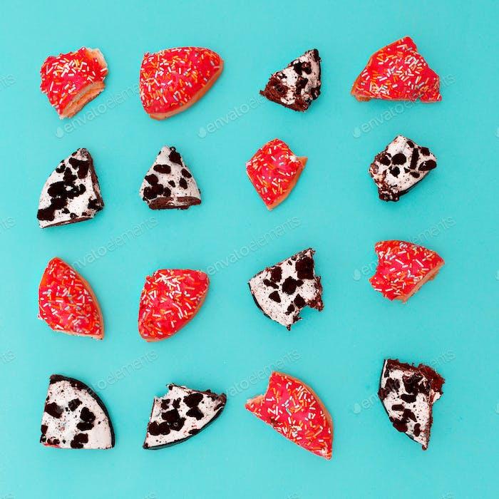 Creative bright fast food. donut pieces set Minimal art idea