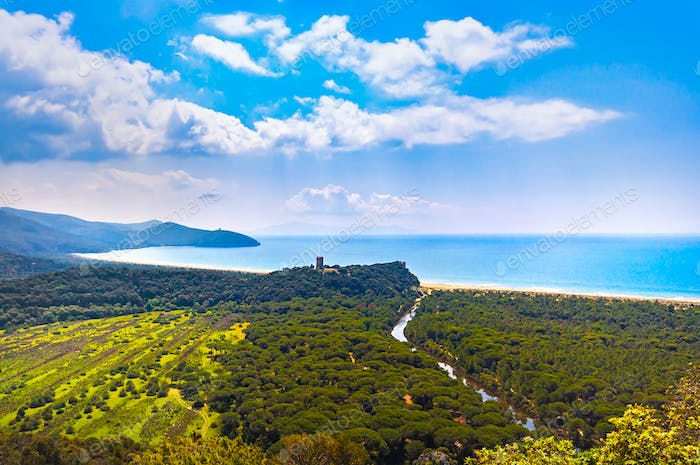 Panoramic view of Maremma Regional or Uccellina Park. Tuscany, I