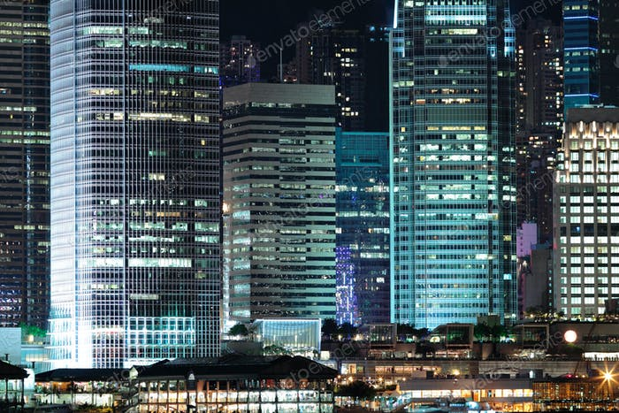 business buildings at night